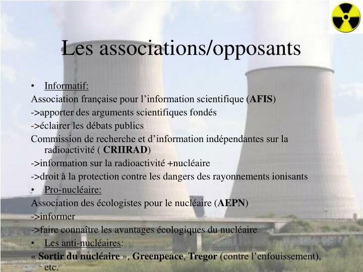 Les associations/opposants