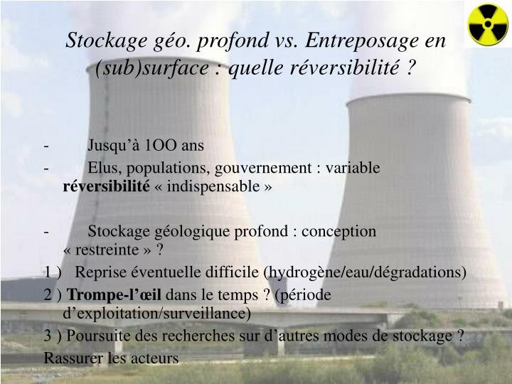 Stockage géo. profond vs. Entreposage en (sub)surface: quelle réversibilité?