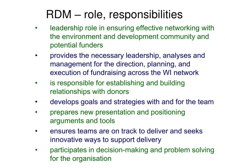RDM – role, responsibilities