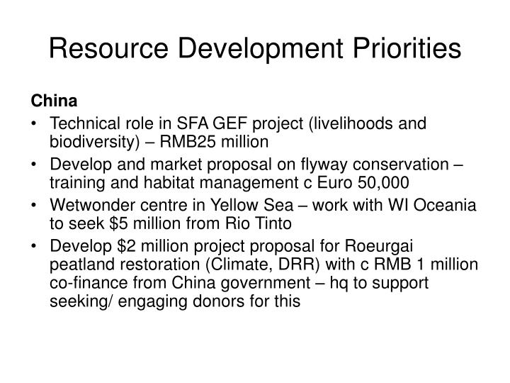 Resource Development Priorities