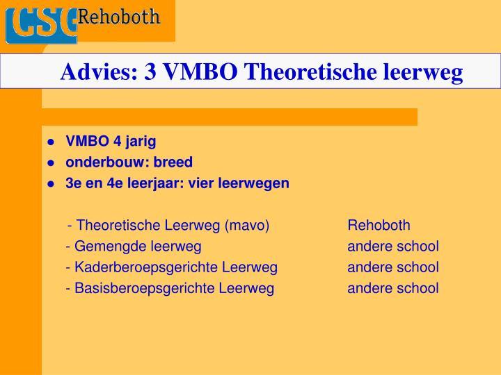 Advies: 3 VMBO Theoretische leerweg