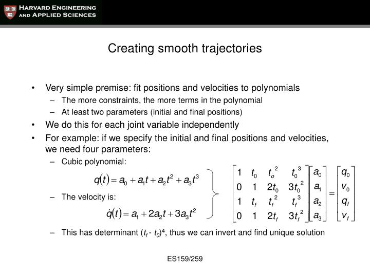 Creating smooth trajectories