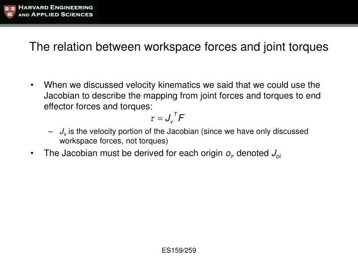 The relation between workspace forces and joint torques