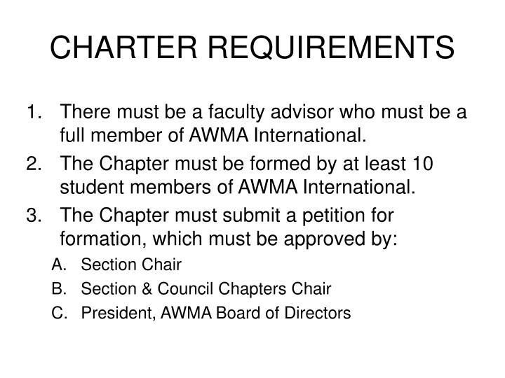 CHARTER REQUIREMENTS