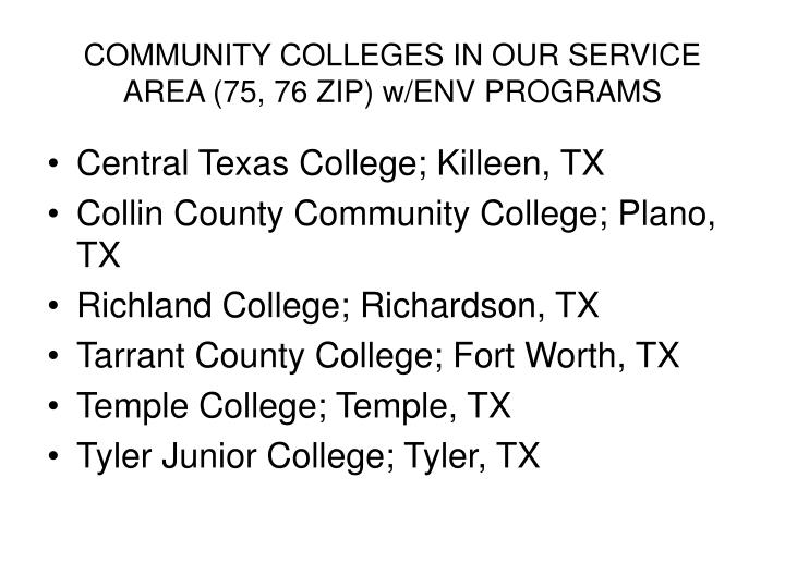 COMMUNITY COLLEGES IN OUR SERVICE AREA (75, 76 ZIP) w/ENV PROGRAMS