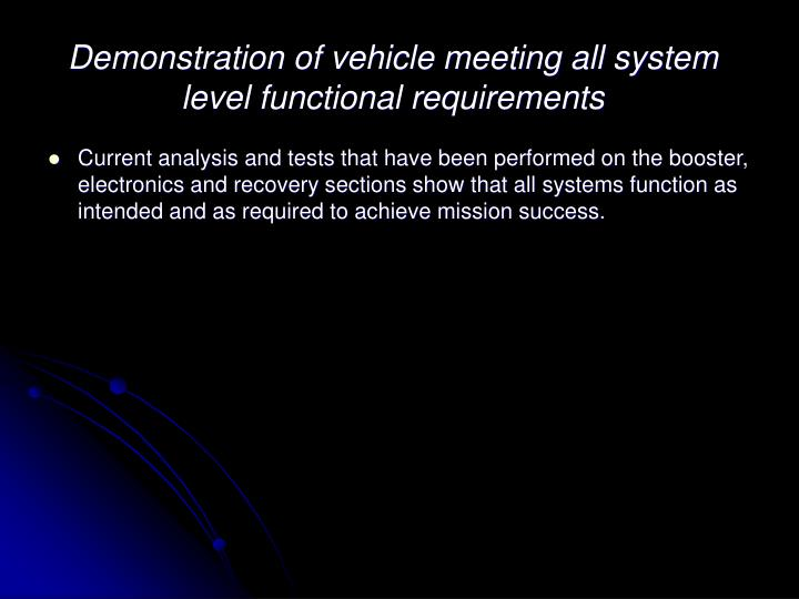 Demonstration of vehicle meeting all system level functional requirements