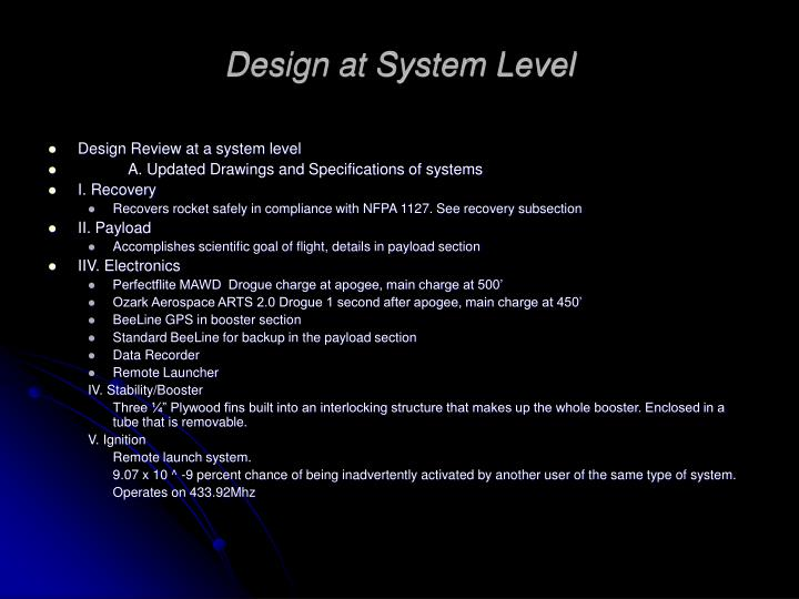 Design at System Level