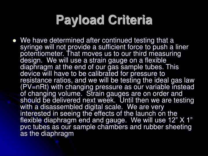 Payload Criteria