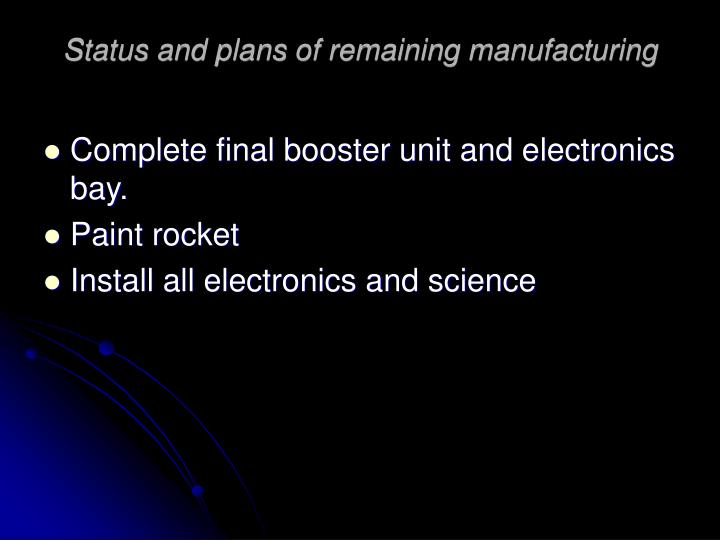 Status and plans of remaining manufacturing