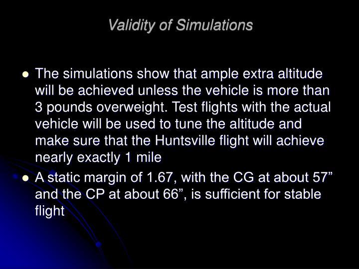 Validity of Simulations