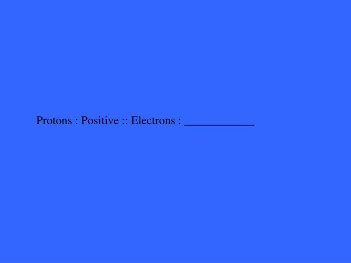 Protons : Positive :: Electrons : ____________