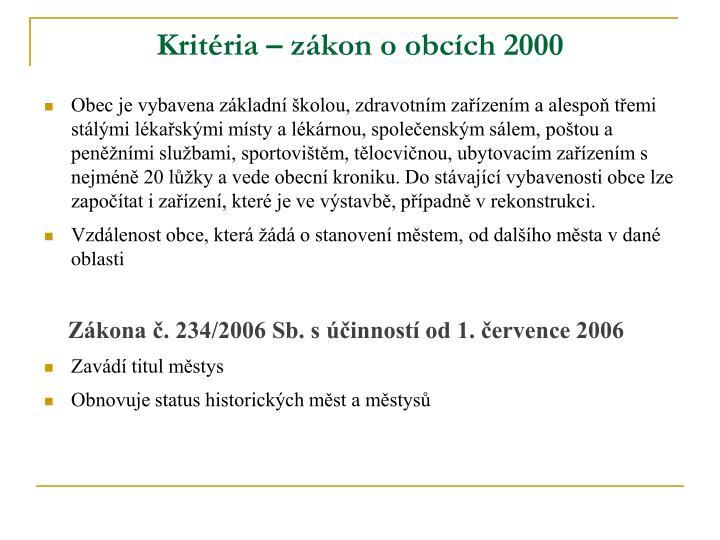 Kritéria – zákon o obcích 2000