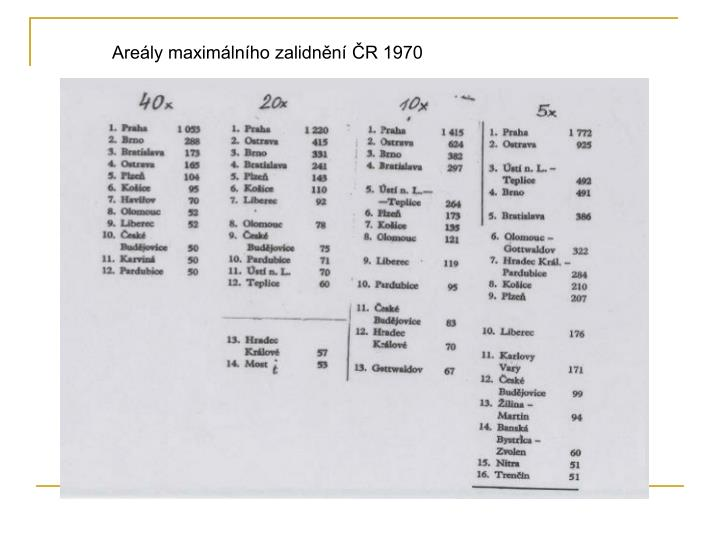 Areály maximálního zalidnění ČR 1970
