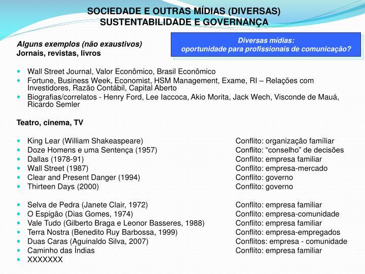 SOCIEDADE E OUTRAS MÍDIAS (DIVERSAS)