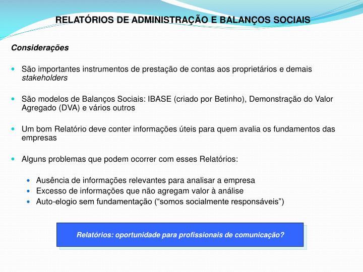 RELATÓRIOS DE ADMINISTRAÇÃO E BALANÇOS SOCIAIS