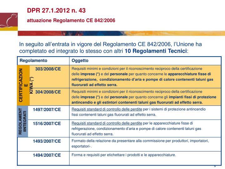 DPR 27.1.2012 n. 43