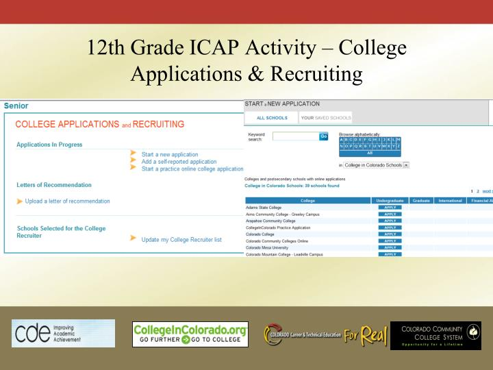 12th Grade ICAP Activity – College Applications & Recruiting
