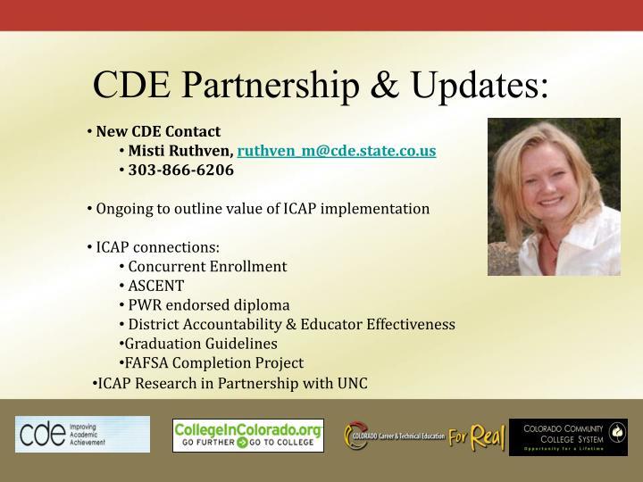 CDE Partnership & Updates: