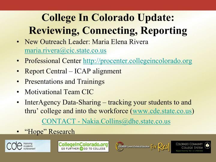 College In Colorado Update: