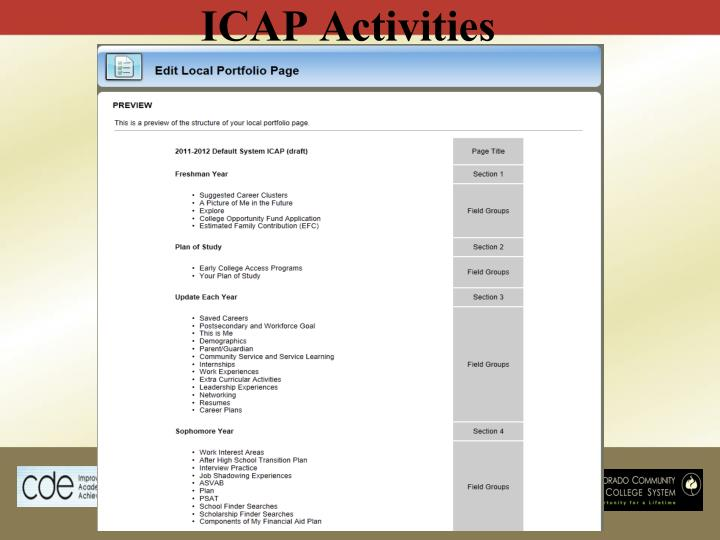 ICAP Activities