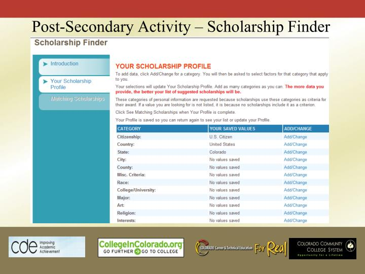 Post-Secondary Activity – Scholarship Finder