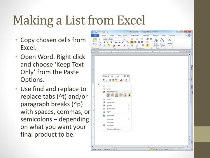Making a List from Excel