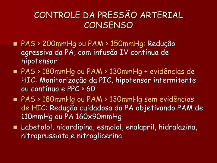 CONTROLE DA PRESSÃO ARTERIAL