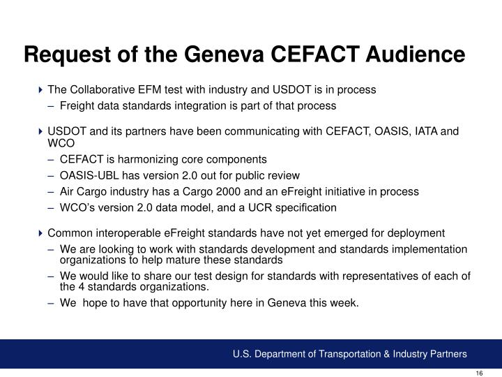 Request of the Geneva CEFACT Audience