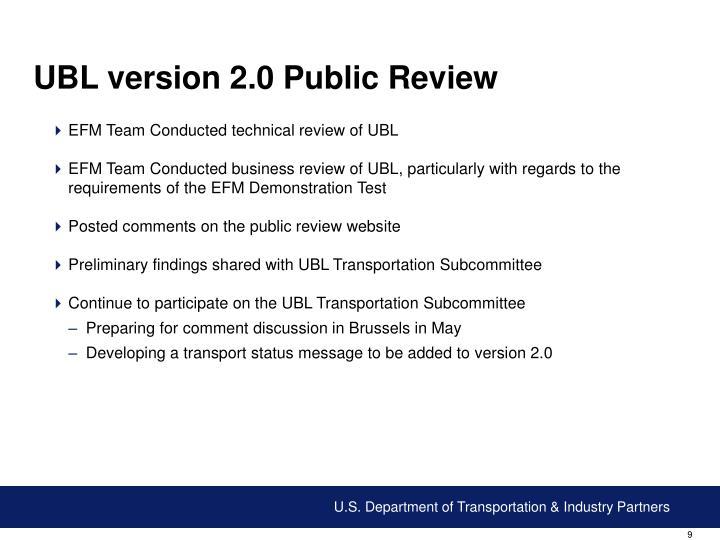 UBL version 2.0 Public Review