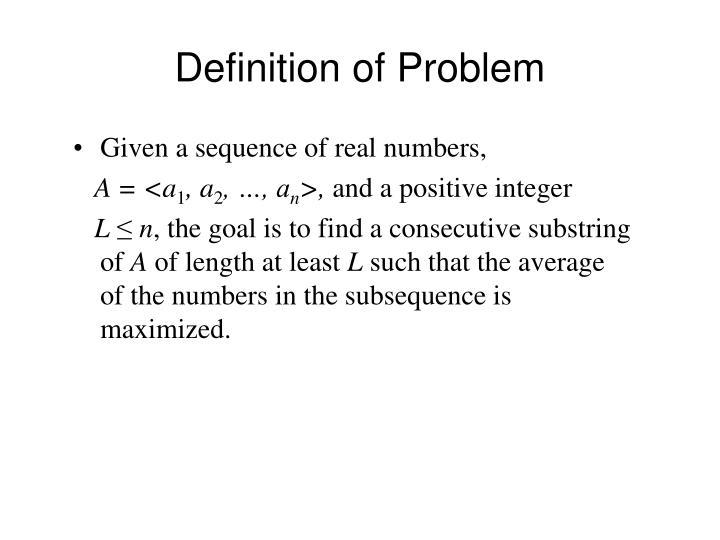 Definition of Problem