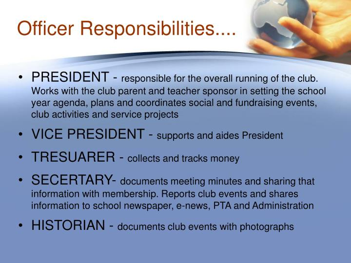Officer Responsibilities....