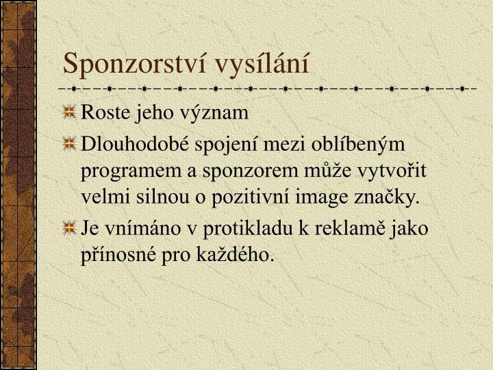 Sponzorství vysílání