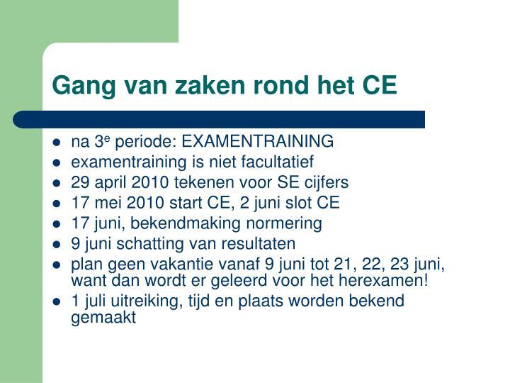Gang van zaken rond het CE