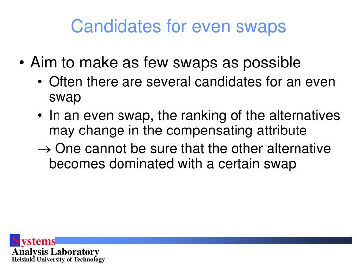 Candidates for even swaps