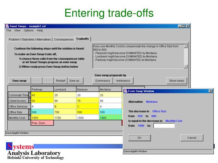 Entering trade-offs