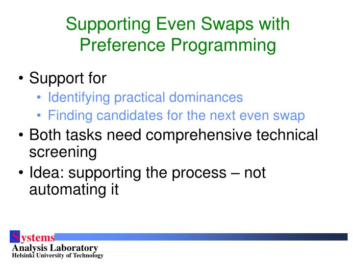 Supporting Even Swaps with Preference Programming