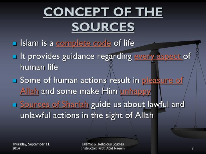 Concept of the sources