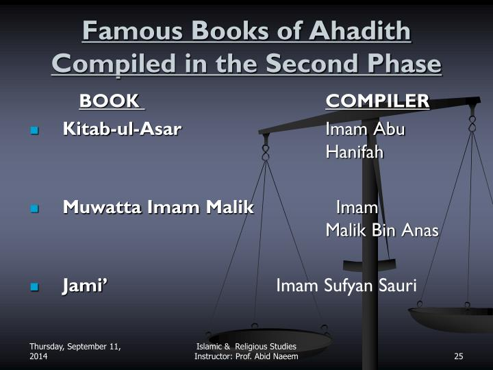 Famous Books of Ahadith Compiled in the Second Phase