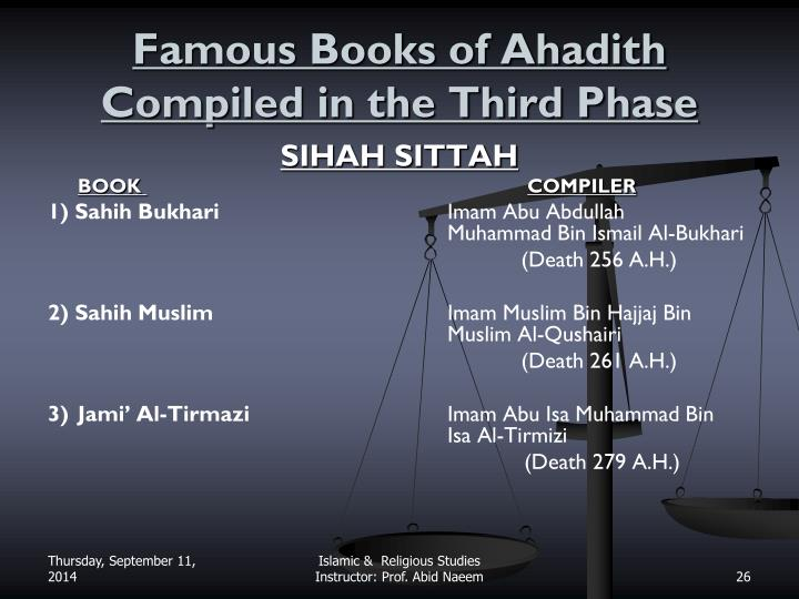 Famous Books of Ahadith Compiled in the Third Phase