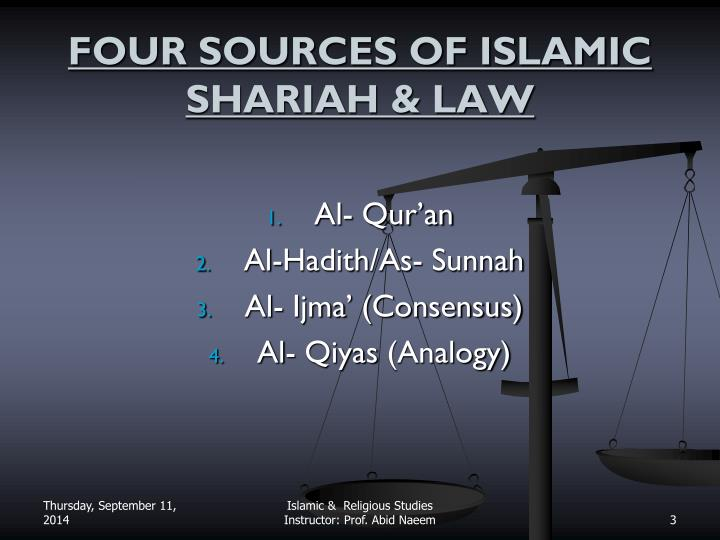 Four sources of islamic shariah law