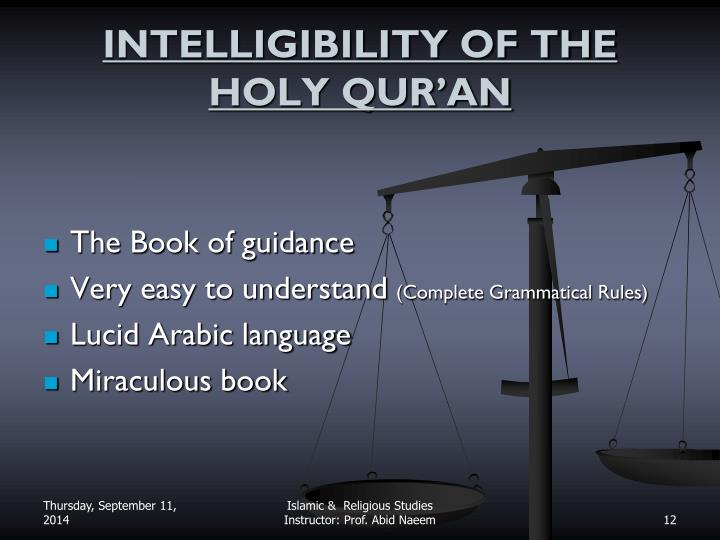 INTELLIGIBILITY OF THE HOLY QUR'AN