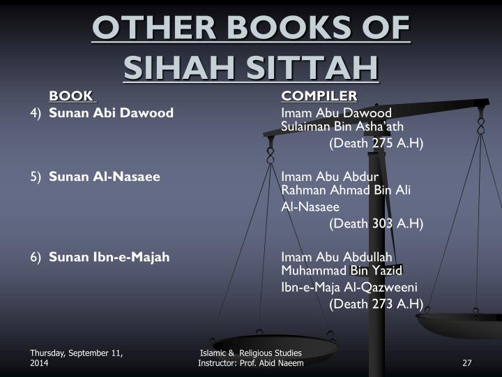 OTHER BOOKS OF SIHAH SITTAH
