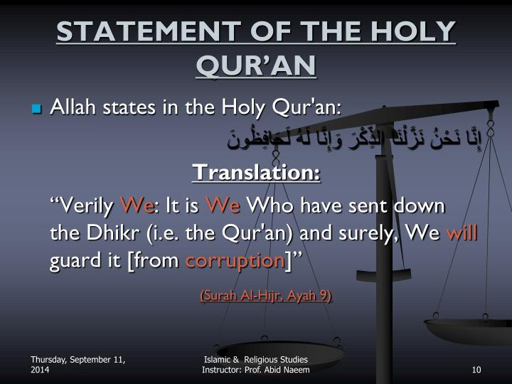 STATEMENT OF THE HOLY QUR'AN