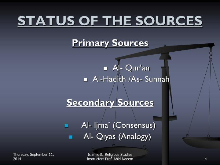STATUS OF THE SOURCES