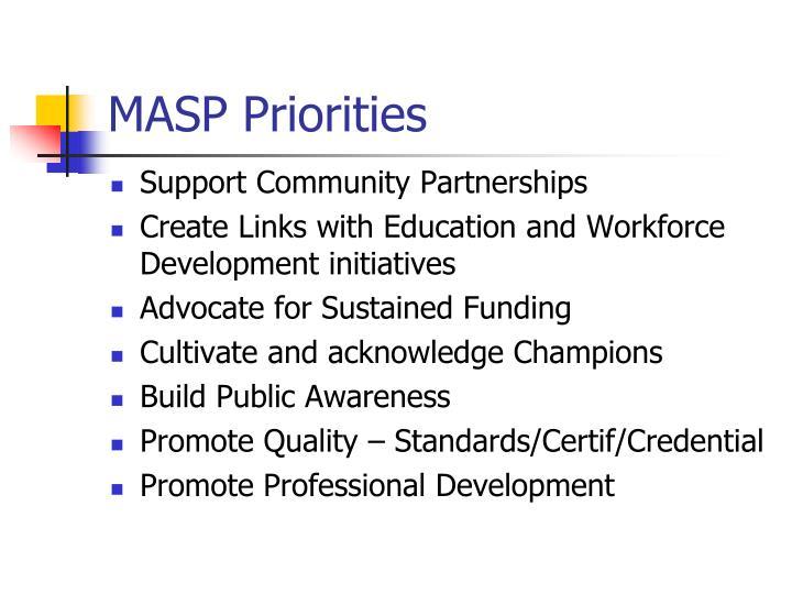 MASP Priorities