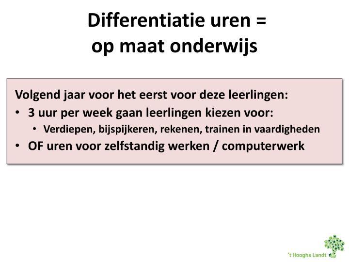 Differentiatie uren =