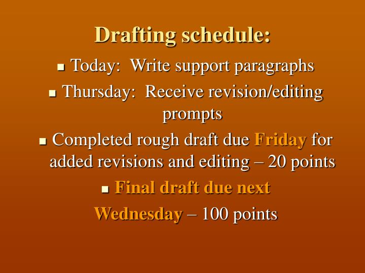 Drafting schedule: