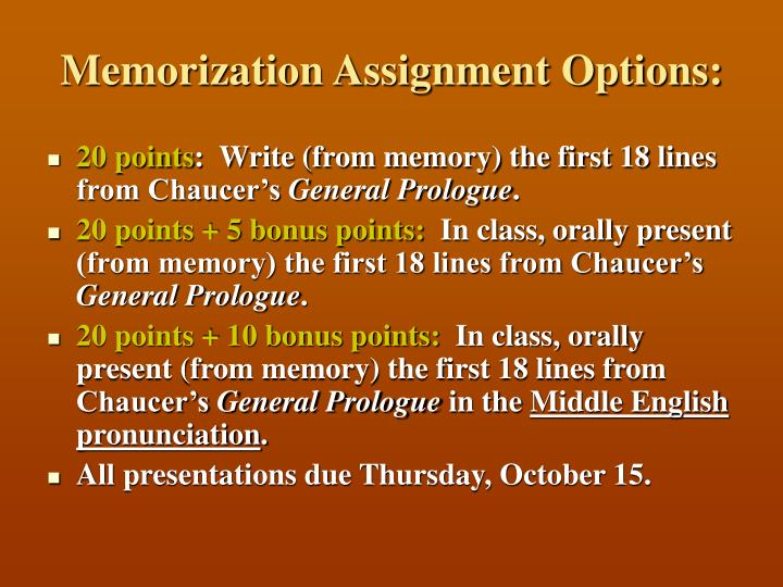 Memorization Assignment Options: