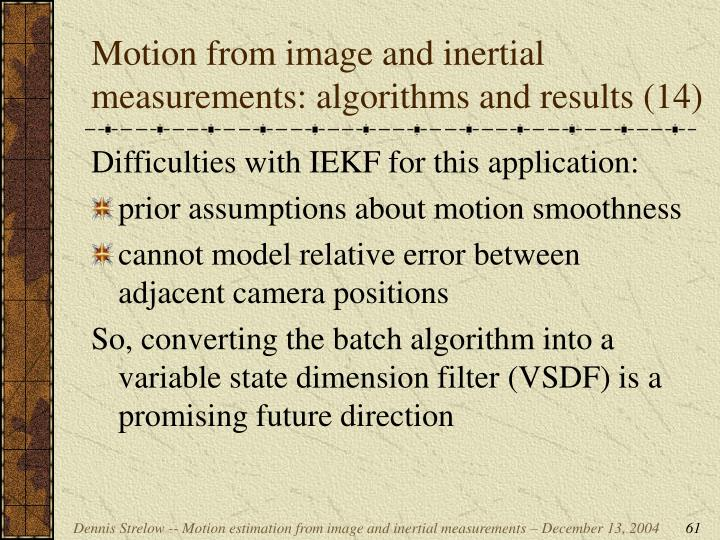 Motion from image and inertial measurements: algorithms and results (14)