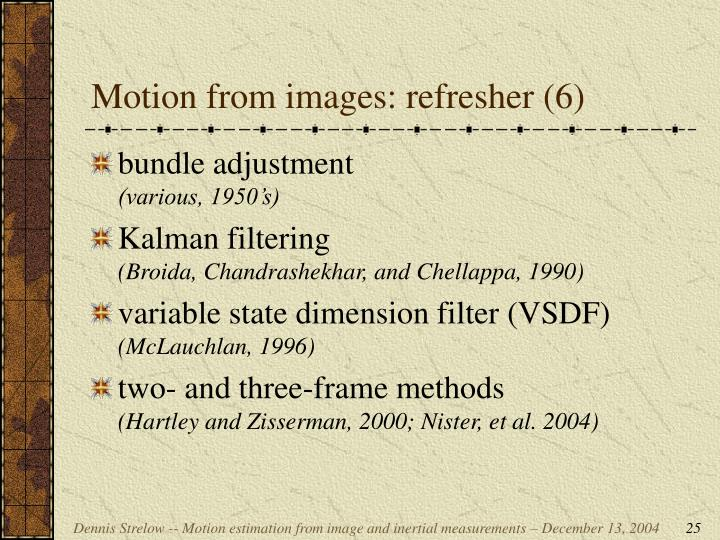Motion from images: refresher (6)